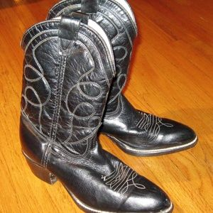 Girl's Black White Stitched Cowboy Boot Size 1 1/2